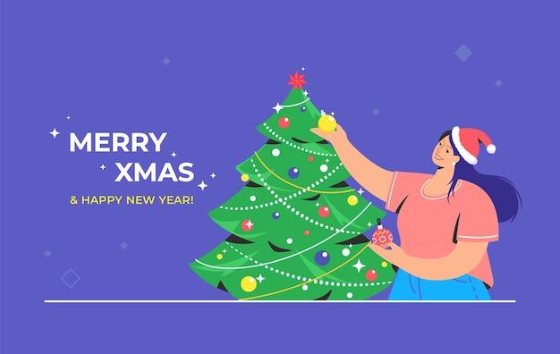 Decorazione dell'albero di natale. il simbolo vettoriale piatto della donna sorridente che indossa il cappello rosso della santa sta decorando l'albero di natale per celebrare il buon natale e il felice anno nuovo. preparazione per la festa di natale