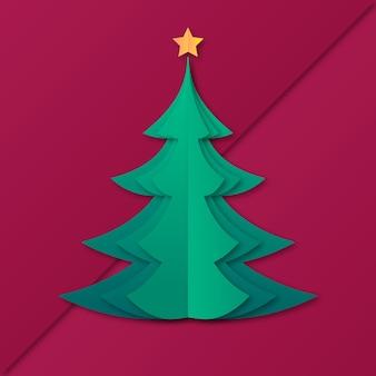 Disegno dell'albero di natale in stile carta