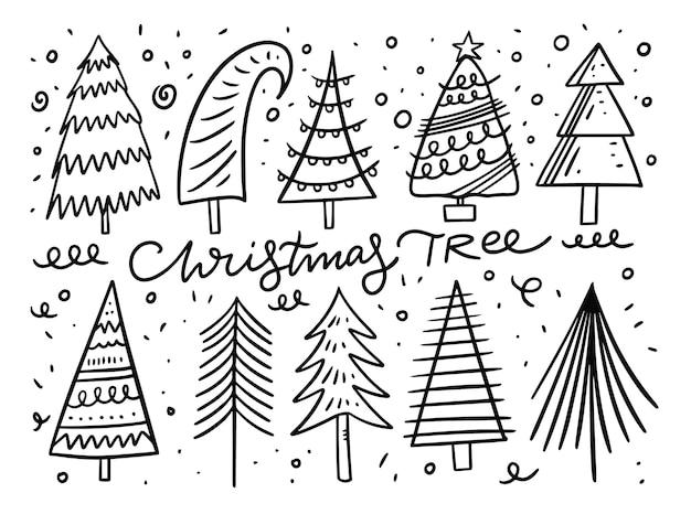 Insieme di elementi di doodle dell'albero di natale. inchiostro nero. isolato su sfondo bianco.