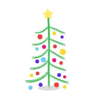 Albero di natale disegnato vernici matite bambini albero di natale albero di natale tradizionale alternativo