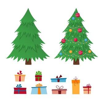 Albero di natale e scatole regalo. buon natale e un felice anno nuovo.