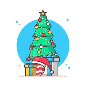 Illustrazioni di clipart vettoriali di albero e regalo di natale.