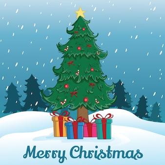 Albero di natale e regalo con fiocco di neve o isola neve e albero di sfondo