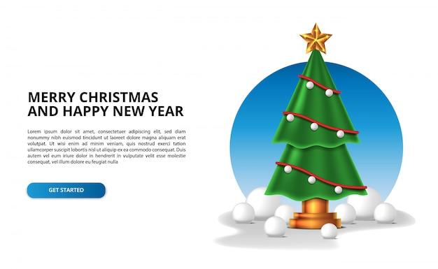 Albero di natale per la decorazione domestica dell'interno con il concetto dell'illustrazione degli accessori della palla di neve. buon natale e felice anno nuovo.