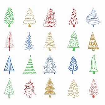 Icona dell'albero di natale pennello disegnato a mano tratto disegno inchiostro doodle inchiostro per la decorazione festiva del nuovo anno