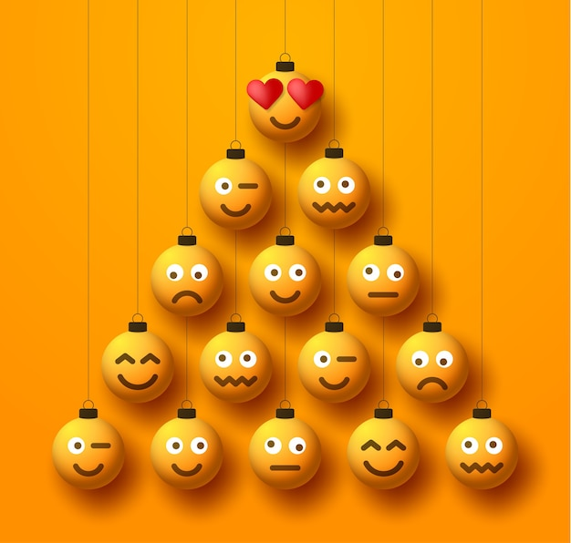 Albero di natale fatto di palline di pallina emoji faccia