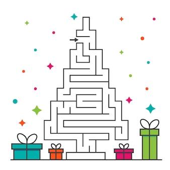 Gioco del labirinto del labirinto dell'albero di natale per i bambini. enigma di logica del labirinto. un ingresso e una strada giusta da percorrere.