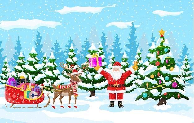 Albero di natale, babbo natale con renne e slitta. paesaggio invernale con foresta di abeti e nevica. felice anno nuovo celebrazione. vacanze di natale di capodanno.