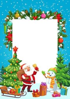Albero di natale, babbo natale e pupazzo di neve, regali di natale, slitta da neve e stella, scatole regalo, palline e fiocchi di neve