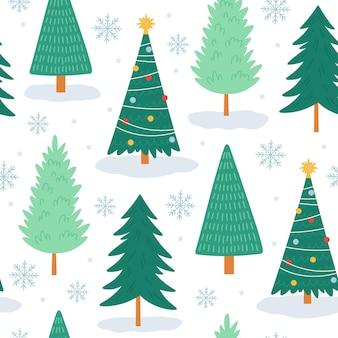 Reticolo senza giunte dell'albero di natale. stampa noel con fiocchi di neve, decorazioni natalizie e alberi della foresta. carta da parati vettoriale albero carino vacanza invernale. albero di natale senza cuciture, illustrazione di festa dell'ornamento