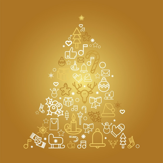 Sagoma di albero di natale con icone lineare di vacanza. biglietto di auguri abete con decorazioni festive