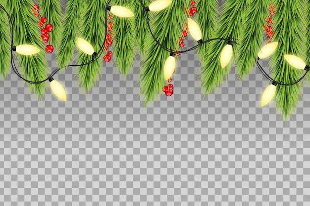 Decorazione del bordo superiore dell'albero di natale con bacche rosse di agrifoglio e lucine. luci al neon su sfondo trasparente.