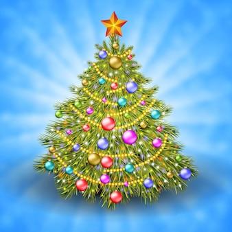 Albero di natale con palline colorate e stella d'oro sulla parte superiore. illustrazione vettoriale. sfondo festivo incandescente con fasci di luce