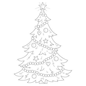 Albero di natale con decorazioni. natale. anno nuovo. libro da colorare antistress per bambini e adulti. illustrazione isolato su sfondo bianco. stile zen-groviglio.