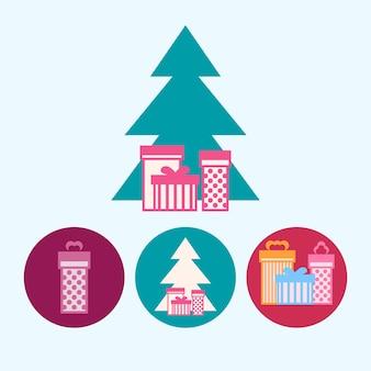 Albero di natale con scatole regalo. set da 3 icone rotonde colorate, scatola regalo rosa, albero di natale con scatole regalo, scatole regalo colorate, illustrazione vettoriale