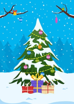 Albero di natale con doni e decorazioni sul paesaggio invernale. Vettore Premium