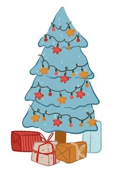 Albero di natale con scatole regalo, pino isolato decorato con ghirlande e palline. celebrazione di natale e capodanno, atmosfera festosa e preparazione per la vigilia delle vacanze invernali. vettore in stile piatto