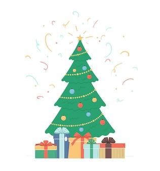 Albero di natale con decorazioni a stella palline catena di lampadine scatole regalo albero festivo e coriandoli