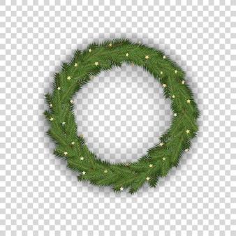 Corona dell'albero di natale isolata su trasparente