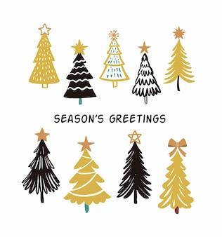 Alberi di natale. scheda dell'albero di abete invernale dell'illustrazione della mano. simbolo del nuovo anno