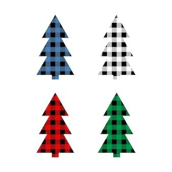 Set di alberi di natale con ornamento a quadri buffalo in rosso verde blu e nero