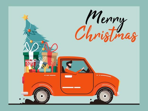 Camion di natale con un albero di natale e un regalo