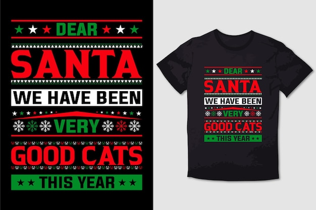 Christmas tshirt design caro babbo natale siamo stati molto buoni gatti quest'anno