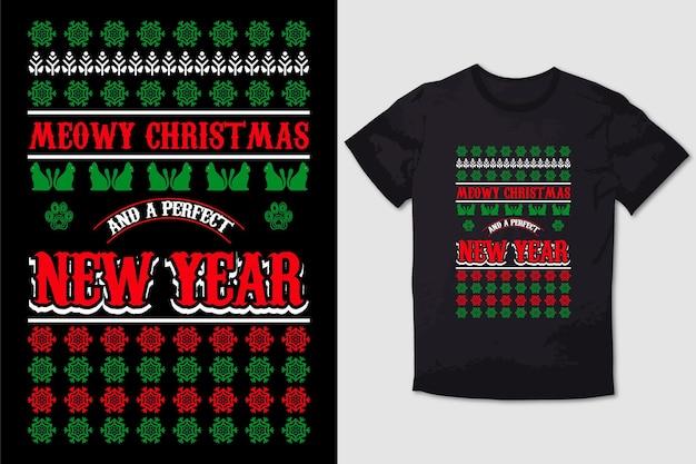 Christmas tshirt design meowy natale e un perfetto anno mew
