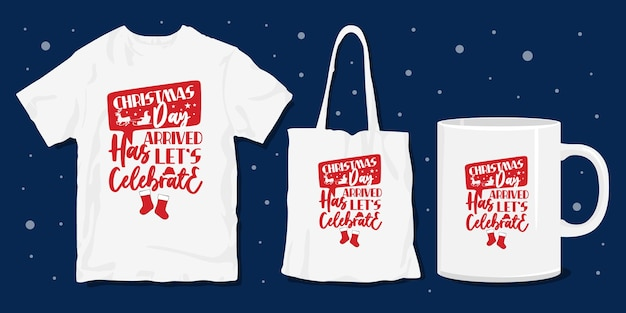 Design tipografico natalizio per merce t-shirt