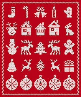 Brutti elementi di natale. vettore. modello senza cuciture a maglia. bordo natalizio maglione. ornamento fair isle con fiocco di neve, cervo, omino di pan di zenzero, albero, pupazzo di neve, confezione regalo. stampa a maglia