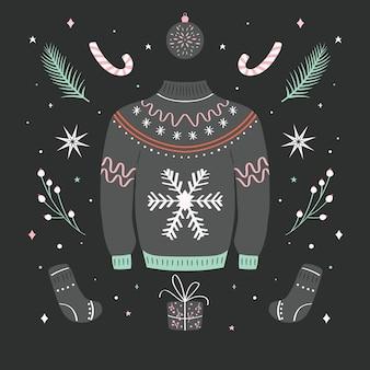 Natale brutto maglione illustrazione