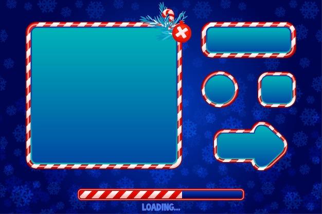 Interfaccia utente natalizia ed elementi per il gioco