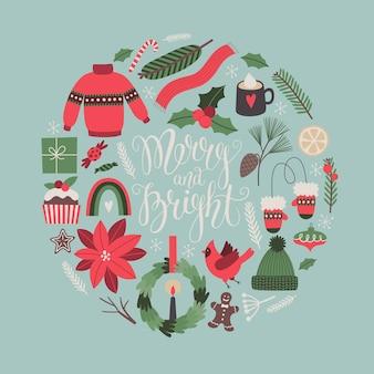 Cartolina d'auguri di natale con i simboli tradizionali delle feste scritte merry and bride