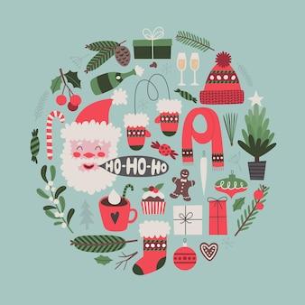 Cartolina d'auguri di natale con simboli tradizionali albero di natale di vischio di babbo natale
