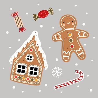 Illustrazione vettoriale di natale. casa di pan di zenzero, omino di pan di zenzero, bastoncino di zucchero e caramelle in stile cartone animato piatto. elementi decorativi di capodanno
