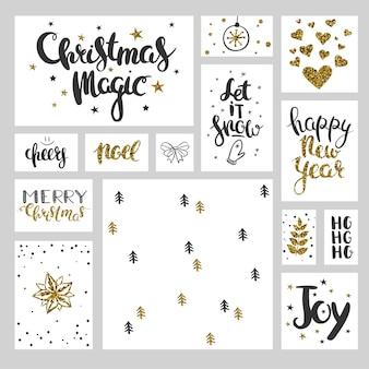 Set vettoriale di natale auguri di lettere natalizie ed elementi decorativi in oro bianco nero