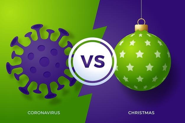 Natale contro il concetto di coronavirus. Vettore Premium