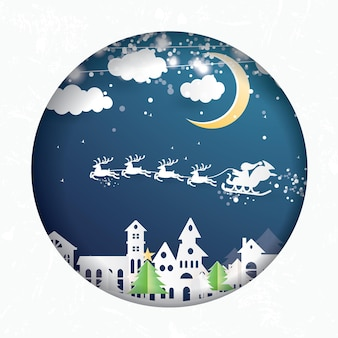 Villaggio di natale e babbo natale in slitta in stile carta tagliata. paesaggio invernale con luna e nuvole. illustrazione di vettore. buon natale e felice anno nuovo.