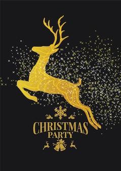 Carta da parati natalizia con cornice dorata di renne di natale