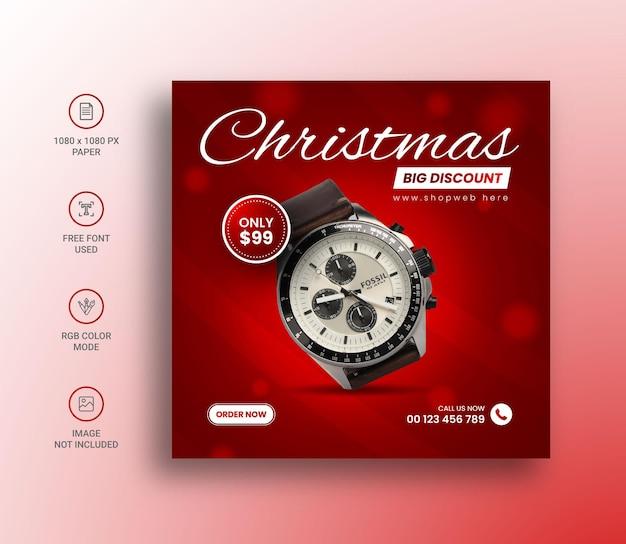 Orologio natalizio post sui social media e modello di progettazione banner
