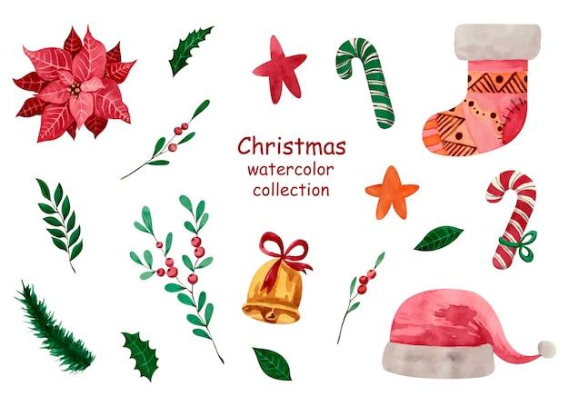 Collezione di acquerelli natalizi con stella di natale, vegetazione, caramelle, cappello di babbo natale, stelle, ramo di bacche, calza natalizia