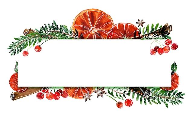 Cornice acquerello di natale con abete e arance e cannella e anice e bacche rosse
