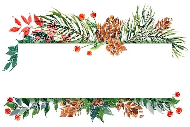 Biglietto natalizio con pino e agrifoglio e piante invernali