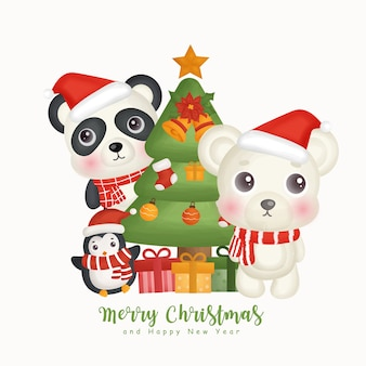 Inverno dell'acquerello di natale con simpatici animali e elemento natalizio per biglietti di auguri