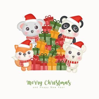 Acquerello di natale con simpatici animali natalizi e scatole regalo per biglietti di auguri, inviti, carta, imballaggi.