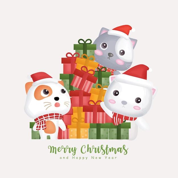 Acquerello di natale con simpatici gatti natalizi e scatole regalo.