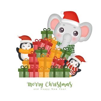 Acquerello natalizio con un simpatico elefante, pinguino e scatole regalo per biglietti di auguri, inviti, carta, imballaggi.