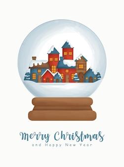 Acquerello di natale con il villaggio di neve in un globo di neve per biglietto di auguri biglietto di auguri di capodanno.