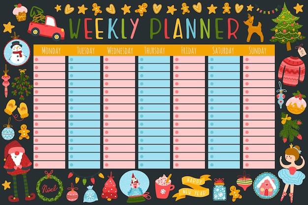 Agenda settimanale natalizia con simpatici personaggi e articoli per le feste. stile infantile disegnato a mano.