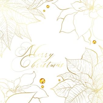 Cornice quadrata bianca e dorata di natale. foglie di stella di natale con linea dorata e bacche dorate. biglietto di auguri per social network di natale e capodanno